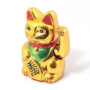 gatto giapponese portafortuna maneki neku pila inclusa muove il braccino saluta