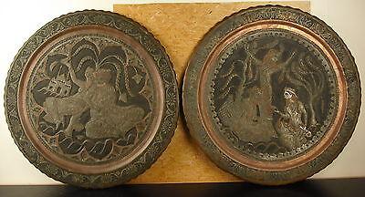 Paar Platten Kupfer Ziseliert Indien Xix Old Gerichte Schmiedeeisen India