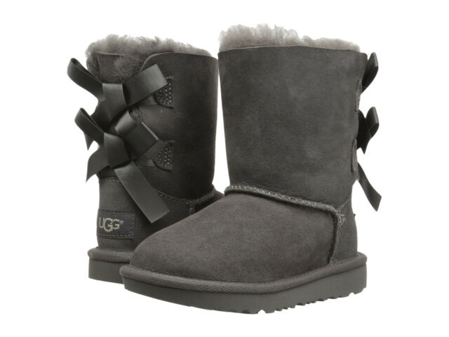 00ce7559271 NEW TODDLER INFANTS UGG BOOT BAILEY BOW II GREY WATER RESISTANT ORIG  1017394T