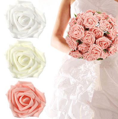 50 Farbecht Schaum Rosen Künstliche Blumen Hochzeit Braut- Blumenstrauß Dekor