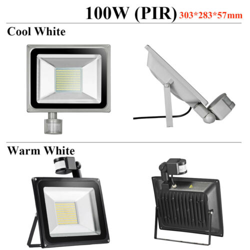 LED Floodlight PIR Sensor Security Garden Lights Cool Warm IP65 30W 50W 100W