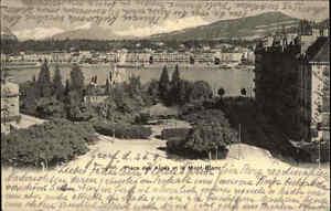 Genf-Geneve-Schweiz-Postkarte-1904-frankiert-Olace-des-Alpes-et-le-Mont-Blanc