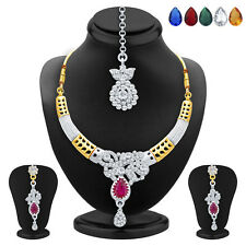 Sukkhi Appealing Gold & Rhodium Plated AD Necklace Set(2507NADP500)