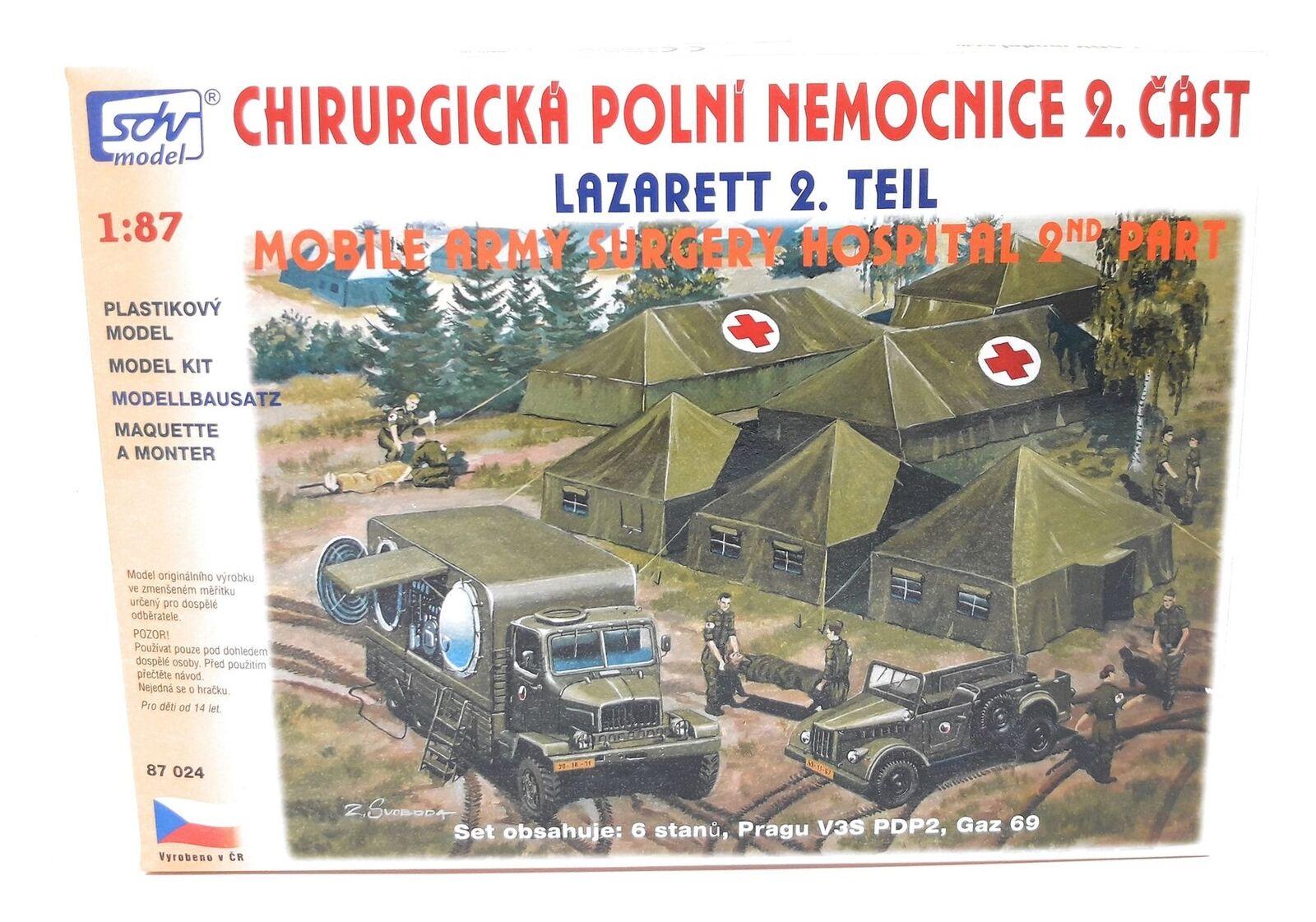SDV Lazarett mit LKW Praga V3S, Gaz 69, 6 Zelte Kunststoff Modellbausatz 1 87 H0