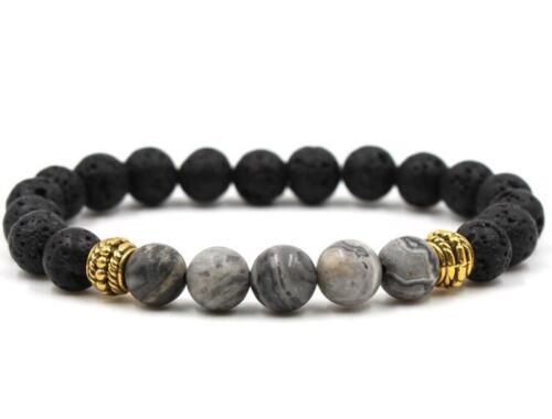 8 mm Volcanique Carte Stone Bracelet Gemstone extensible Monk Hommes bénis extensible Sutra