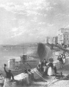 East Sussex, BRIGHTON FRONT CHAIN PIER BEACH SAILBOAT ~ 1840 Art Print Engraving
