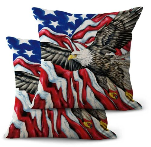 US SELLER 2PCS American flag patriotic eagle cushion throw pillow cases covers