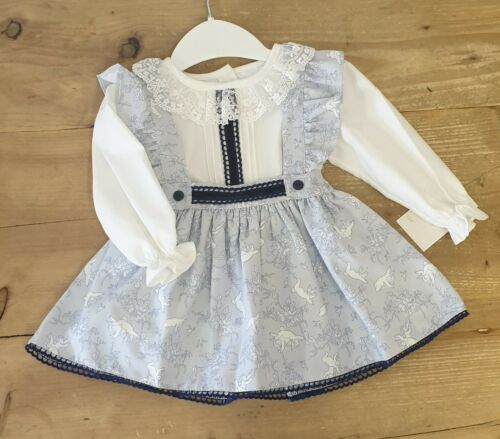 Spanish Cherub Print Pinafore Dress With Blue Velvet And Lace Trim