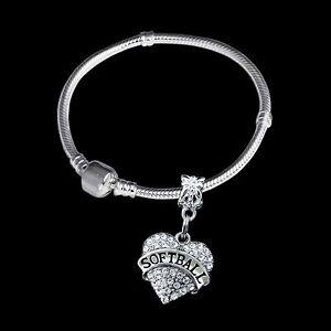 Image Is Loading Softball Bracelet Crystal Heart Charm