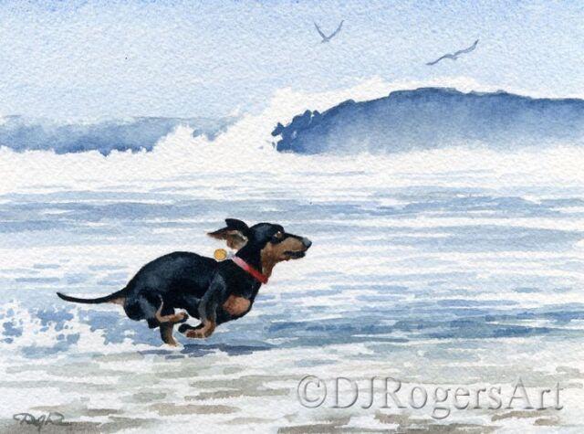 DACHSHUND AT THE BEACH Painting 8 x 10 ART Print Signed DJR