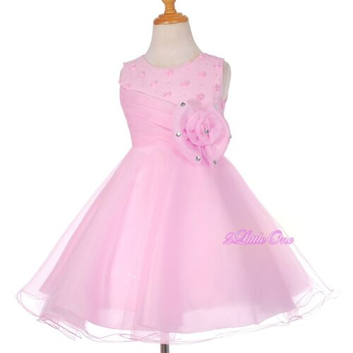 Rhinestones Flower Girl Dress Up Wedding Party Pageant Occasion Pink 2T-9 FG288