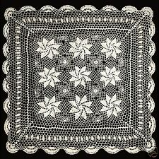 """Hand Knitted Vintage Crochet Lace Doilies Placemat Table Runner 30x30"""" Ivory"""