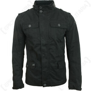 Brandit-Britannia-Chaqueta-Negro-Abrigo-Hombre-Invierno-Elegante-MILITAR-Hood