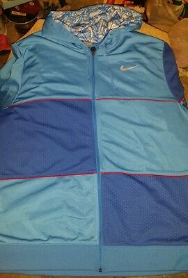 *mens Xxl Nike Dark Blue / Blue / Red Zip Down Jacket
