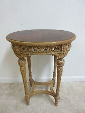 Antique French Paint Decorated Carved Lamp End Table Pedestal