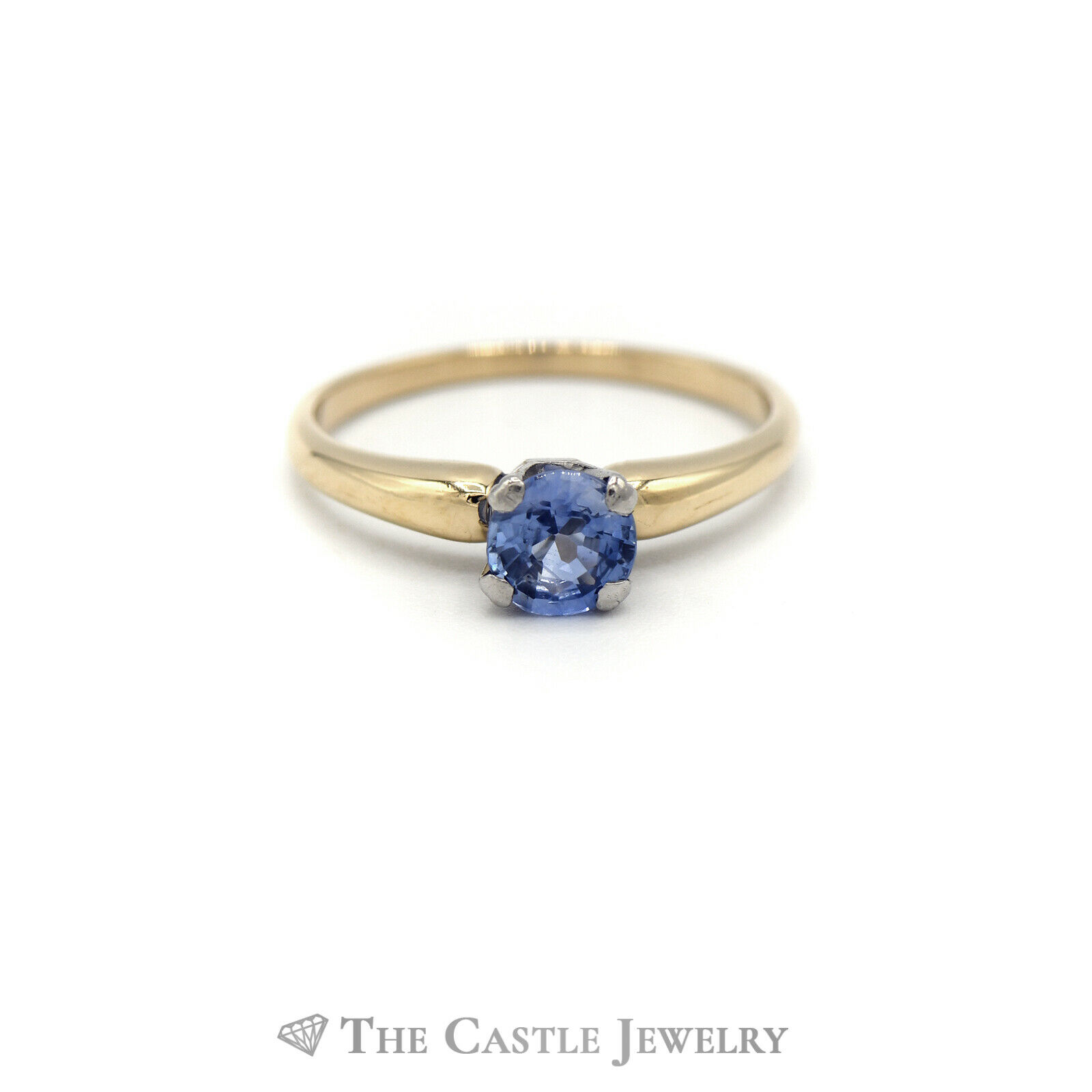 Round Tanzanite Solitaire Ring in 14KT Yellow Gold - image 1