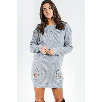 Womens Ladies Hooded Sweatshirt Destroyed Ripped Oversized Longline Tunic Dress
