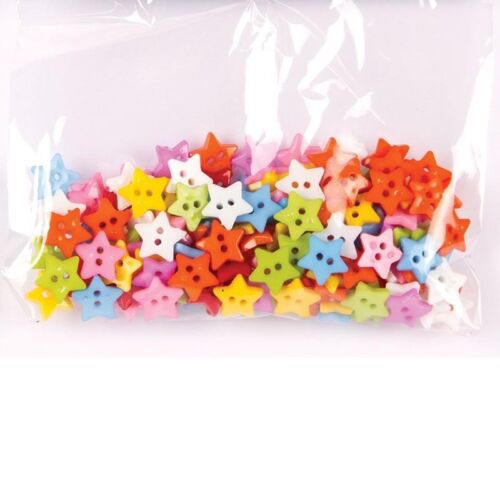 100Pcs Baby Kids Mixed Resin Pentagram Star Button Sewing DIY Scrapbooking /<