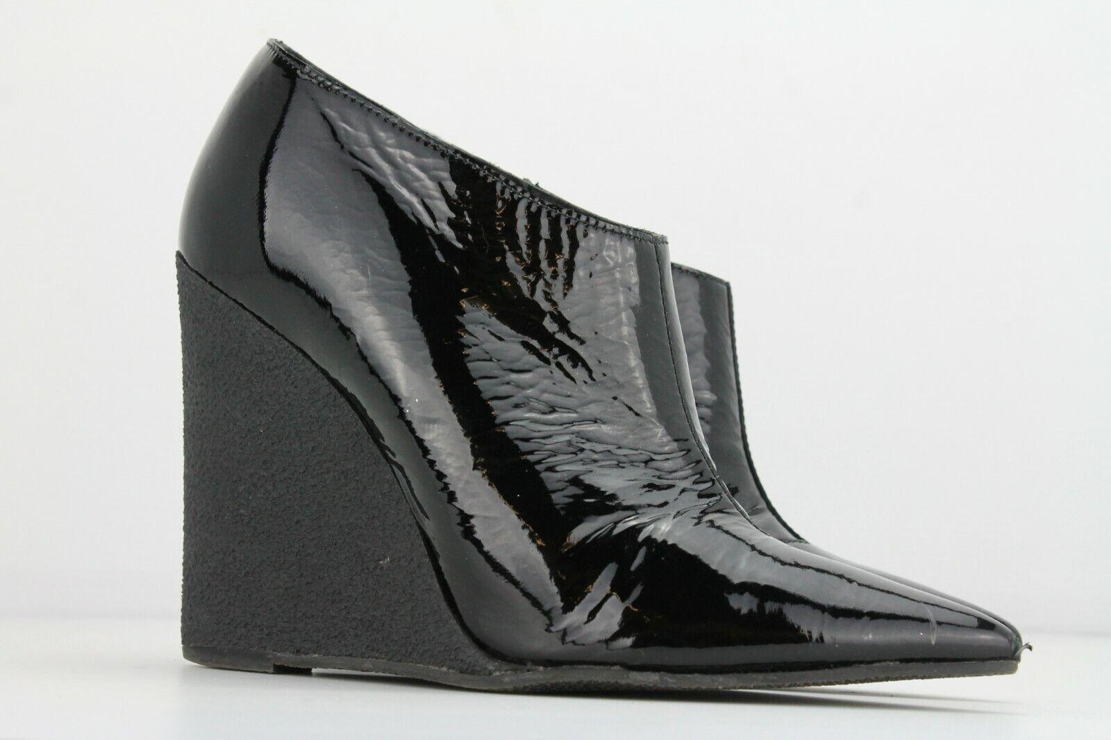 Burberry Prorsum Schwarzes Lackleder Keilabsatz Stiefel ,Größe Uk4   Eu 37