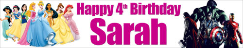 2 X PRINCESS /& AVENGERS PERSONALISED BIRTHDAY BANNERS