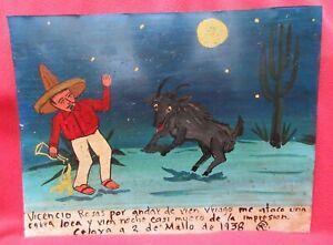 Mexican-Folk-Art-Crazy-Goat-Attacks-Man-Drinking-In-Desert-Ex-Voto-Retablo