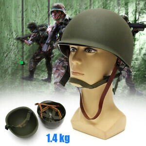 M1-Helmet-WWII-Steel-WW2-US-USA-Tactical-Outdoor-Army-Equipment-Military-Green