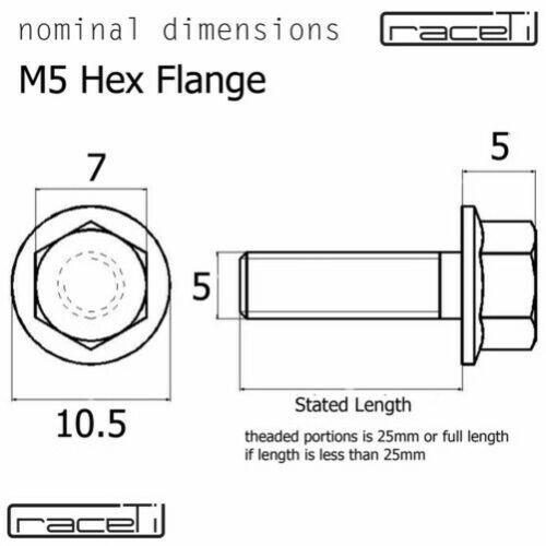 M5 X 35mm Hexagonal Bride Titane Boulons Vis 35 x 0.8 Ti Life Garantie Paquets