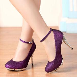 007f1e53a83 Glitter Straps Women Purple High Heels Buckle Dress Evening Wedding ...