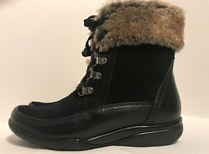 Clarks Cushion Sole Leder schwarz schwarz Leder ankle Stiefel upper zip inside c456c3
