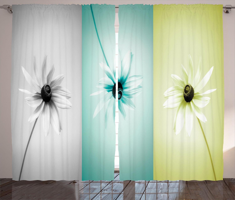 2PC Transparent Ösenschal Gardine Patchwork Farbverlauf fVorhang Dekoschal Voile