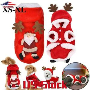 Pet-Coat-Funny-Clothes-Costumes-Dog-Christmas-Santa-Cat-Warm-Hoodie-Jumpsuit-US