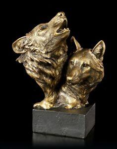 Wolfsköpfe auf Monolith - Song of the Wild - Wildtier Hund Wolfkopf Statue Deko