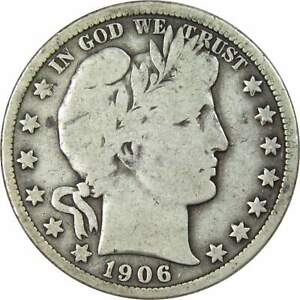1906 Barber Half Dollar VG Very Good 90% Silver 50c US Type Coin Collectible