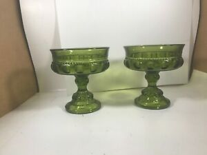 Pair-of-Vintage-Green-Pressed-Glass-Pedestal-Thumb-Print-Bowls