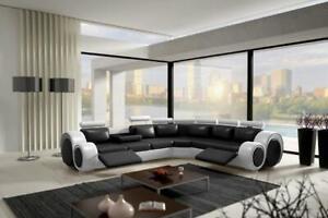 Détails sur Cuir Canapé D\'Angle Design en Intérieur de la Maison Noir Blanc