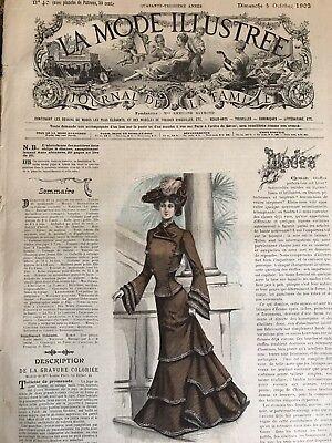 CORSET French MODE ILLUSTREE SEWING PATTERN Oct 5 1902 TOILETTE DE VISITE