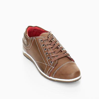 Herren Schuhe Sneaker Styler Schnürer Turnshuhe Club Design Braun WOW 40-44 NEU