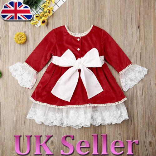 Toddler Kid Baby Girls Velour Lace Ruffled Dress Christmas Princess Party Skirt❤