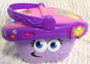 Leapfrog Shapes & Sharing Picnic Basket Electronic Toy Pink Purple Works Music