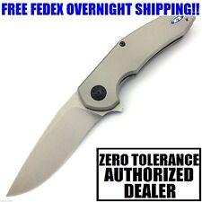 ZT 0220 JENS ANSO DESIGN TITANIUM HANDLE S35VN STEEL PLAIN EDGE FLIPPER KNIFE