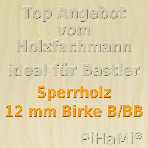 Sperrholz 24,52€//m² 12 mm Birke Sperrholzplatte Holzplatte Bastelholz 50 x 50 cm