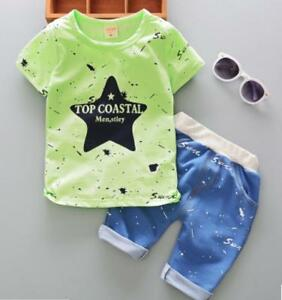1bdd99f87 Details about 2pcs Toddler Kids baby boys summer clothes set Tee+short pants  outfits STAR