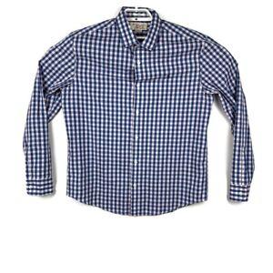 Penguin-Mens-Blue-Check-Pattern-Long-Sleeve-Button-Down-Shirt-Classic-Fit-Sz-L