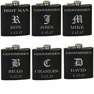 Image Is Loading 6 Personalized Engraved Flask Groomsmen Wedding Party Gift