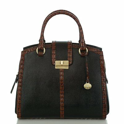 ❤️BRAHMIN OXFORD SATCHEL BLACK TUSCAN +WALLET CROC LEATHER BUSINESS BAG BRIEF ❤️