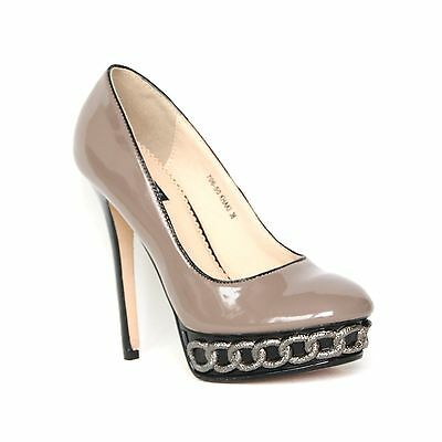 Damen Plateau High Heels Pumps Lack 37 Braun Stilettos Damenschuhe Shoes 706-50