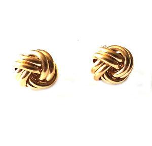 9ct Yellow Gold Knott Stud Earrings