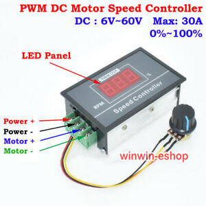 DC 6V 12V 24V 36V 48V 60V DC Motor Speed  PWM Switch Max 30A Digital LED Panel