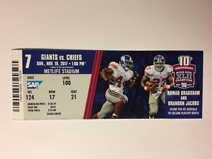 sneakers for cheap 30432 4c892 Details about NEW YORK GIANTS VS KANSAS CITY CHIEFS NOVEMBER 19, 2017  TICKET STUB
