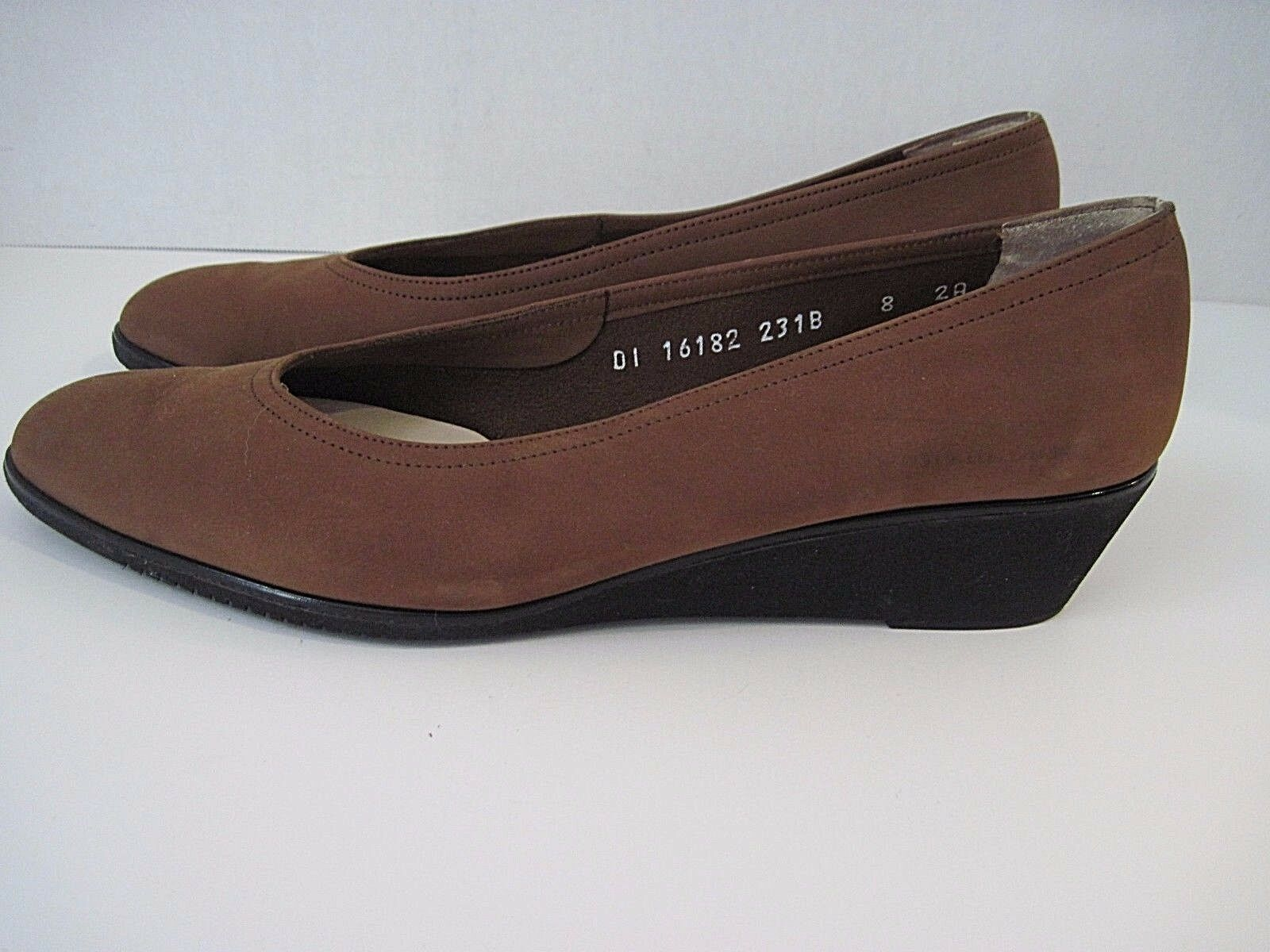 Women's Salvatore Ferragamo Boutique Brown Kid Suede Wedges 8 2A Made In Italy